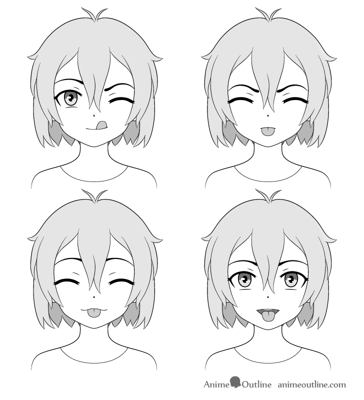 Anime girl sticking out tongue different expressions drawing