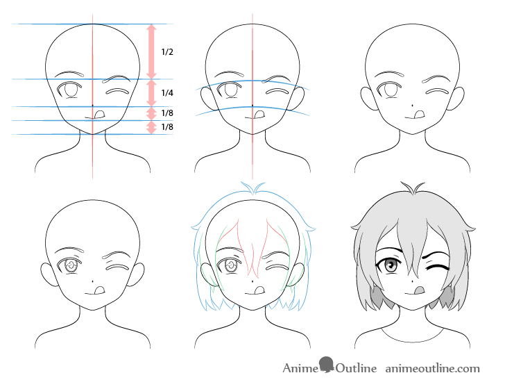 Anime girl tongue out drawing step by step