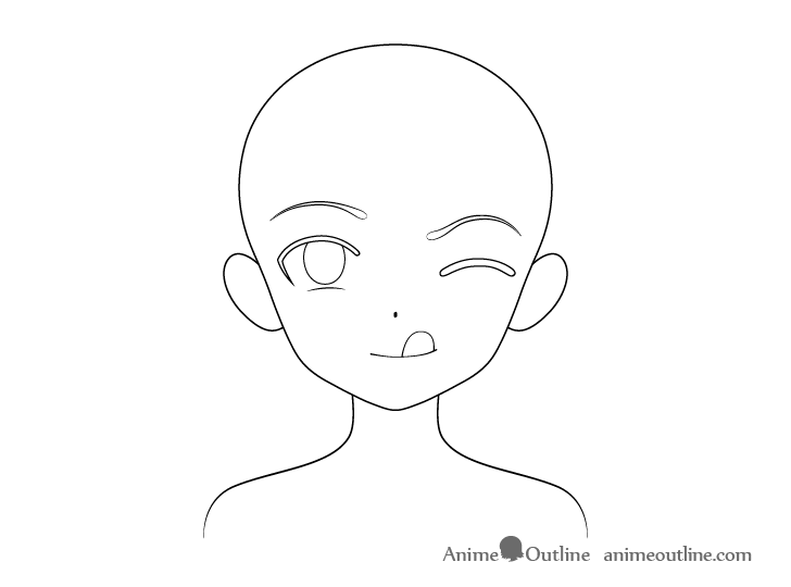 Anime girl tongue out outline drawing