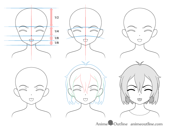 Anime girl tongue out angry teasing face drawing step by step