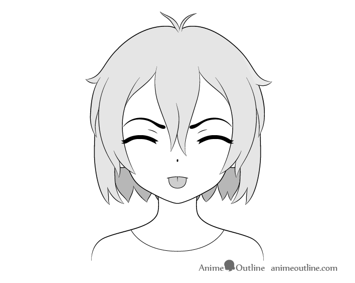 Anime girl tongue out angry teasing face drawing
