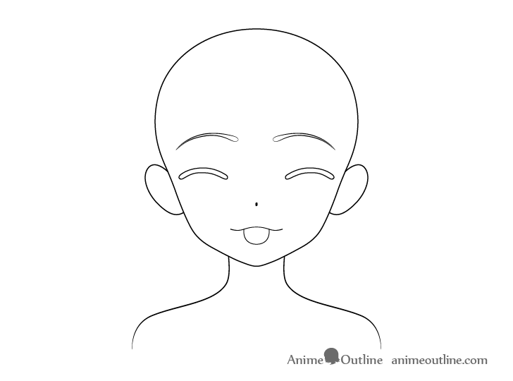 Anime girl tongue out teasing face outline drawing