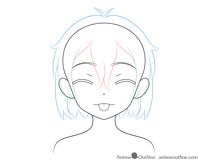 Anime girl tongue out teasing face hair drawing
