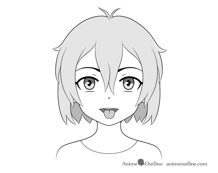 Anime girl open mouth tongue out drawing