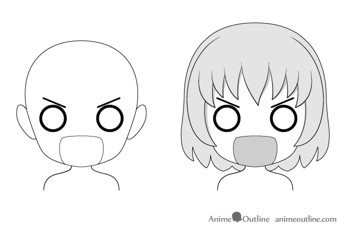 Anime chibi embarrassed facial expression drawing