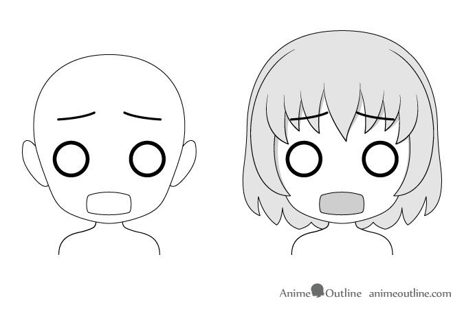 Anime chibi scared facial expression drawing