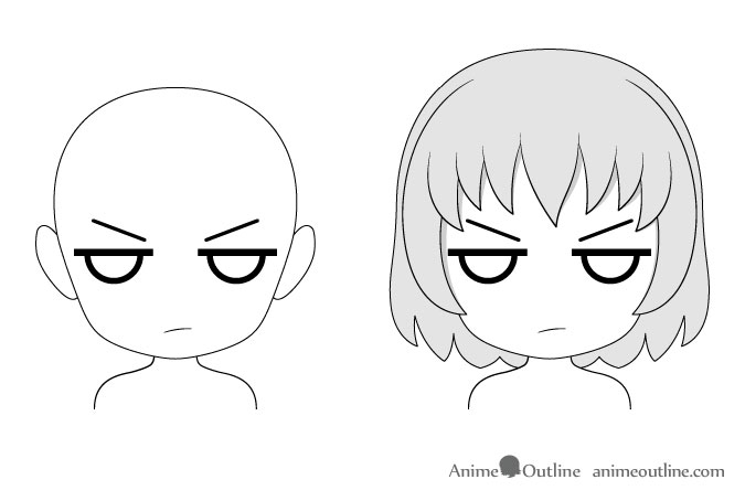 Anime chibi ticked off facial expression drawing