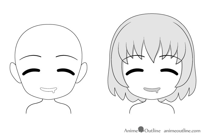 Anime chibi hungry facial expression drawing