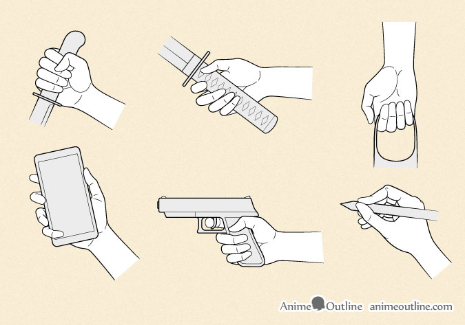 Anime hands holding different objects
