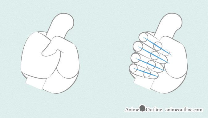 Anime hand holding knife thumb and finger proportions