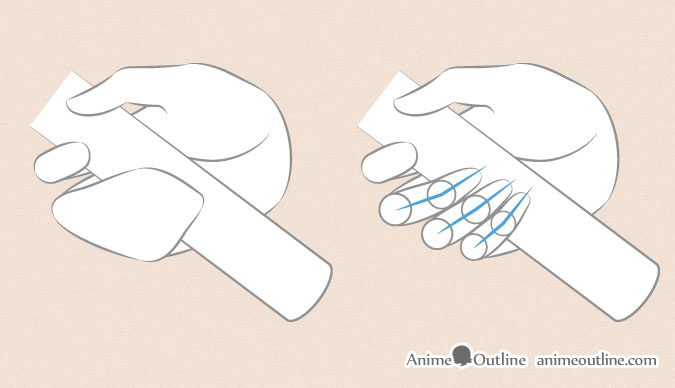 Anime hand holding sword finger proportions