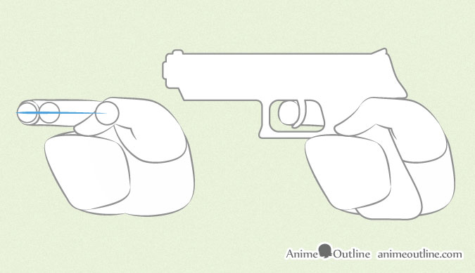 Anime hand holding gun index finger proportions