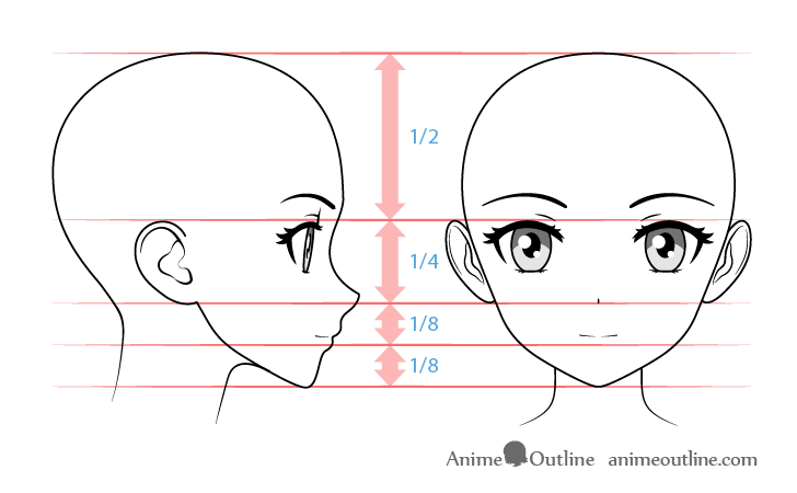 Anime girl face proportons from and side view