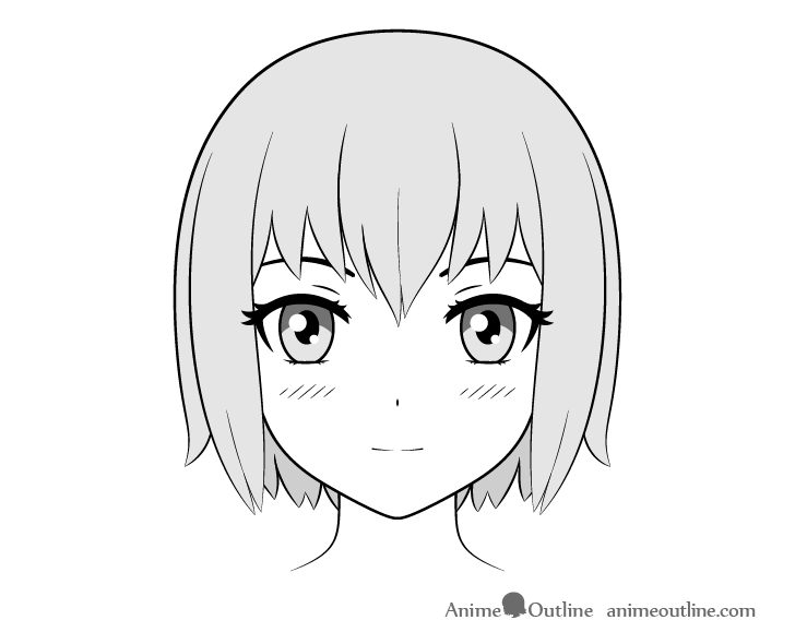 Anime girl face front view drawing