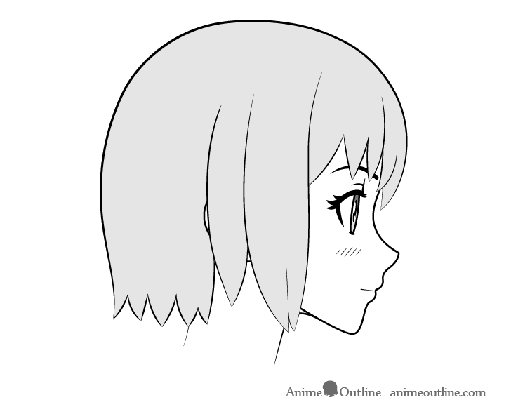 Anime girl face side view drawing