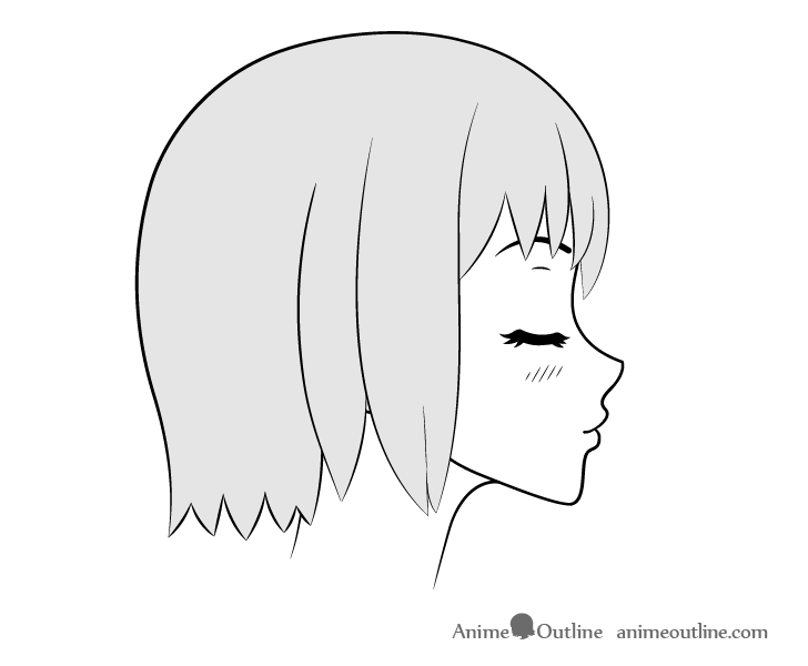 Anime kissing face head lifted side view drawing