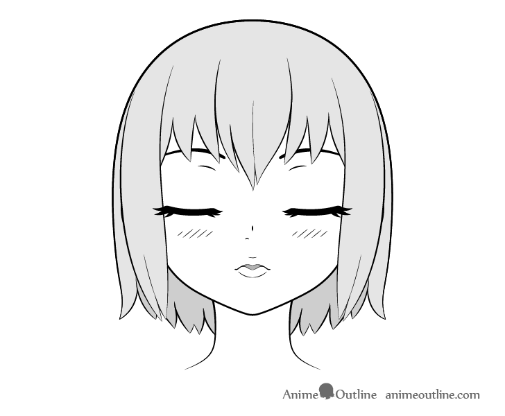 Anime kissing face head lifted front view drawing
