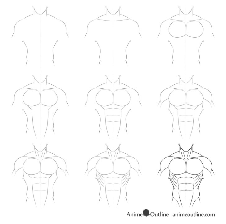 Anime muscular male body drawing step by step