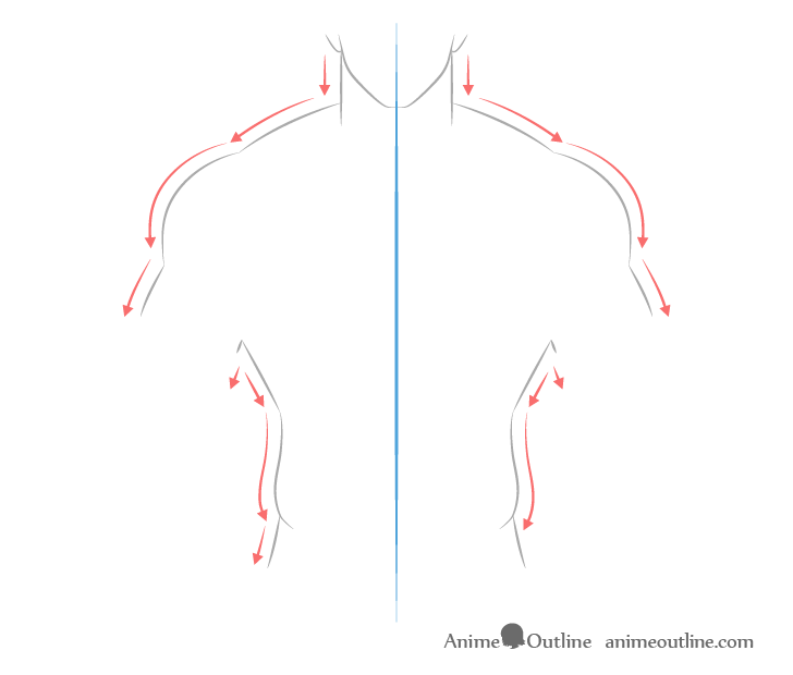 Anime muscular male body drawing directions