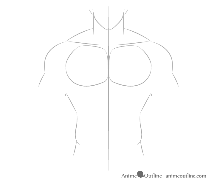 Anime muscular male chest drawing
