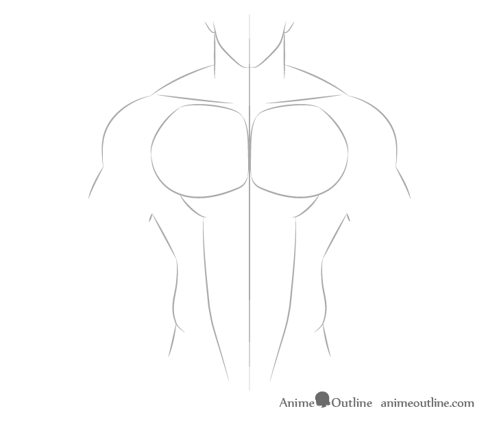 Anime muscular male abs outline drawing