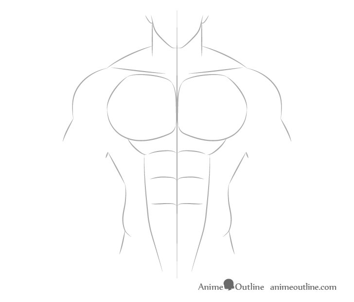 Anime muscular male abs drawing