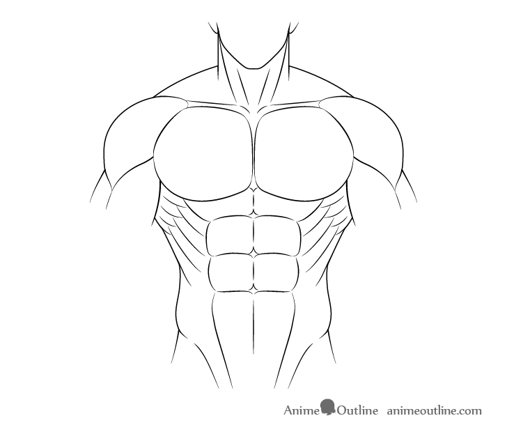Anime muscular male body drawing