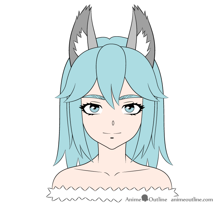 Anime wolf girl color drawing