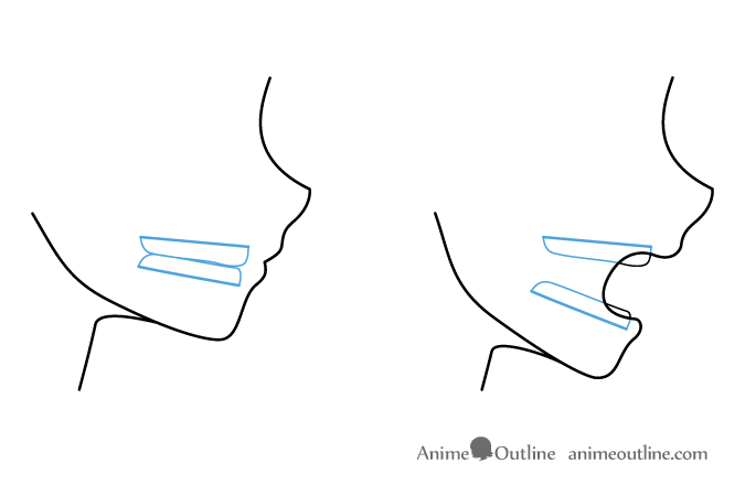 Anime mouth jaw and teeth side view