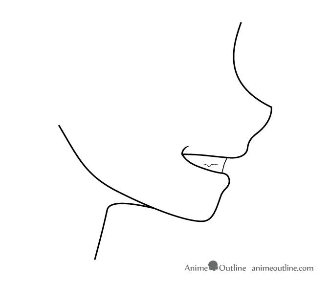 Grinning anime mouth side view