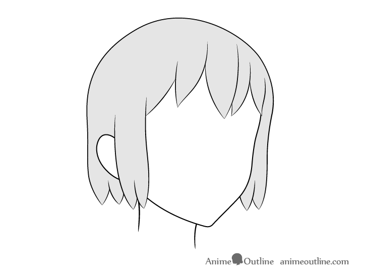 Anime hair 3/4 view drawing
