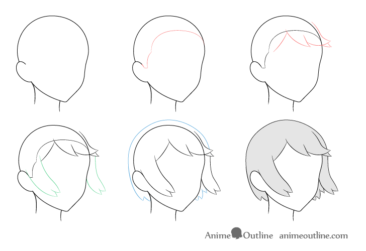 Anime hair blowing in wind 3/4 view drawing step by step