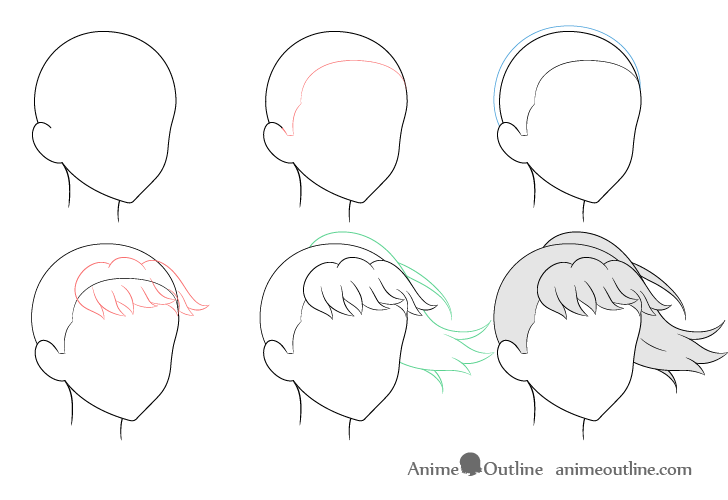 Anime ponytail hair blowing in wind 3/4 view drawing step by step