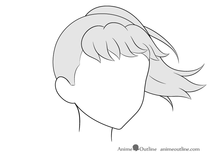 Anime ponytail hair blowing in wind 3/4 view drawing