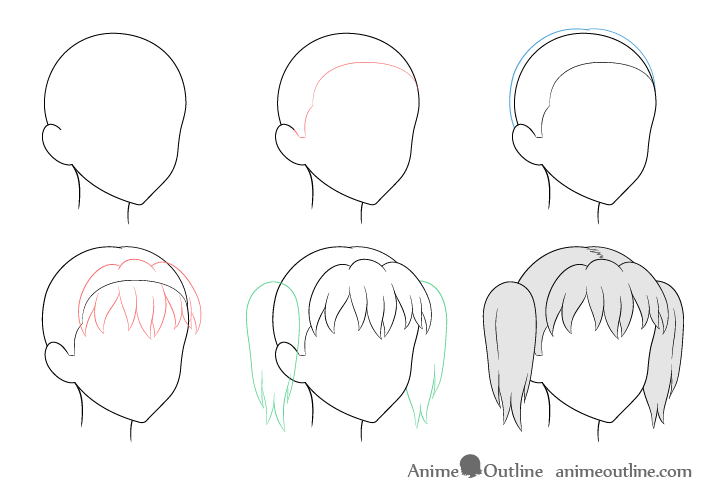 Anime pigtails hair 3/4 view drawing step by step
