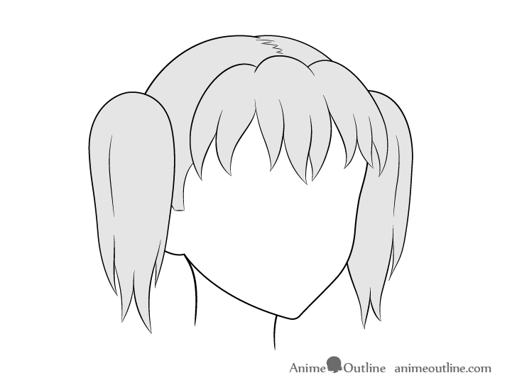 Anime pigtails hair 3/4 view drawing