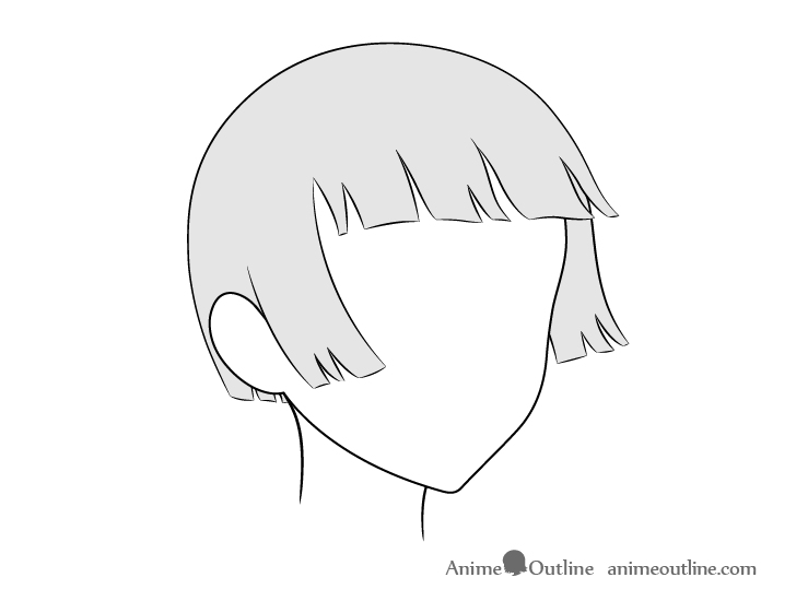 Anime trimmed hair blowing in wind 3/4 view drawing