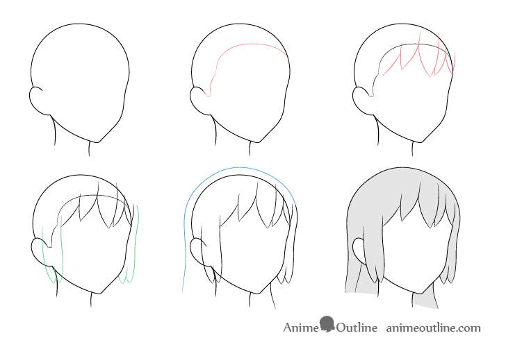 Anime long hair 3/4 view drawing step by step