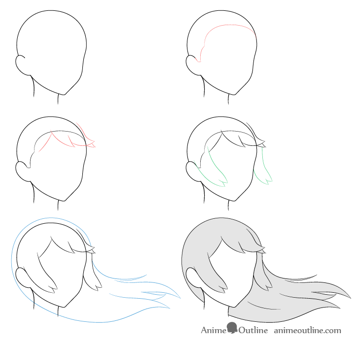 Anime long hair blowing in wind 3/4 view drawing step by step