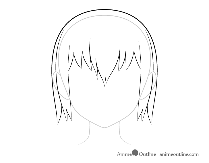 Anime top wet hair drawing