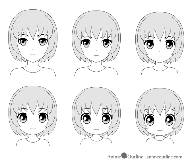 Different anime head and face styles