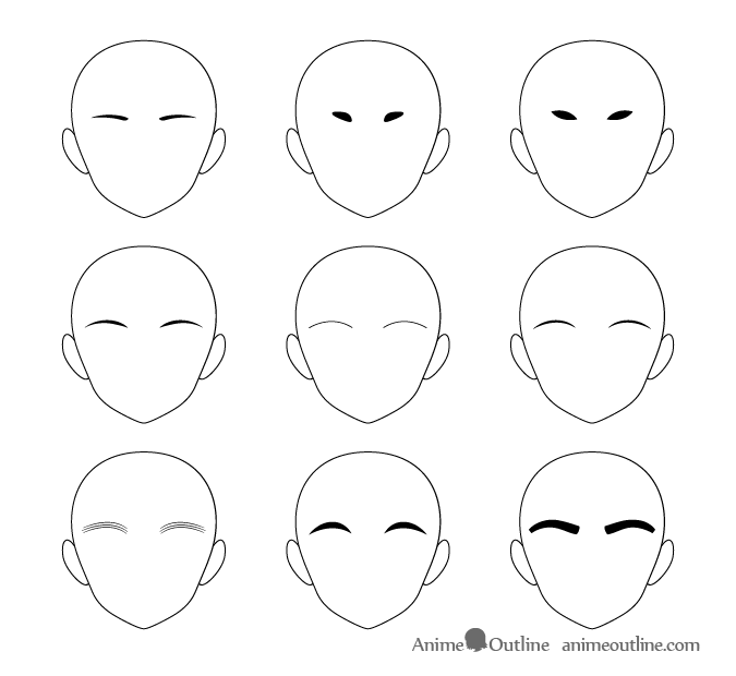 Anime eyebrows different types