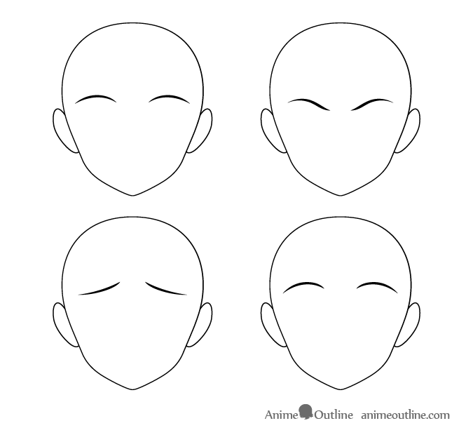 Thin anime eyebrows different positions