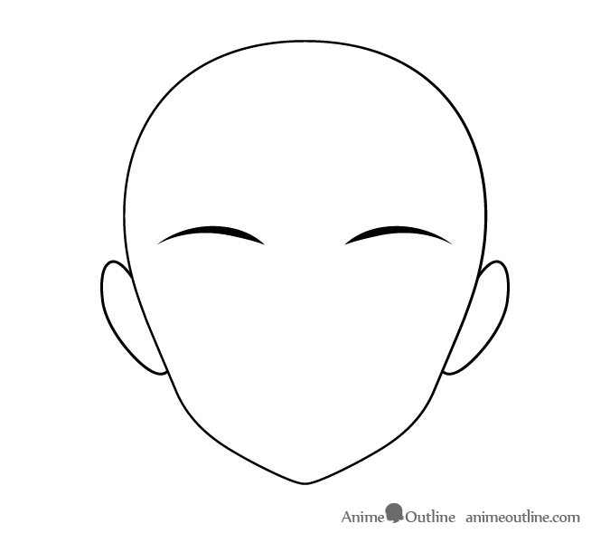 Thin anime eyebrows with thick inner ends