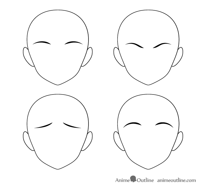 Thin anime eyebrows with thick inner ends different positions