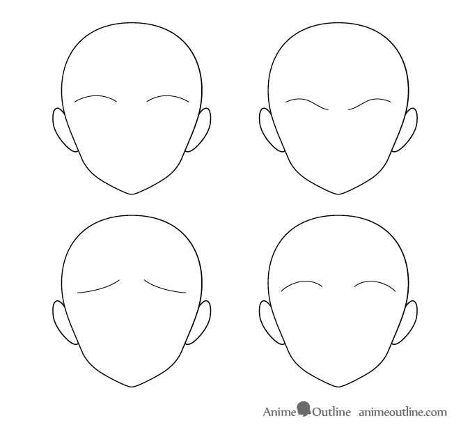 Thin anime one line eyebrows different positions