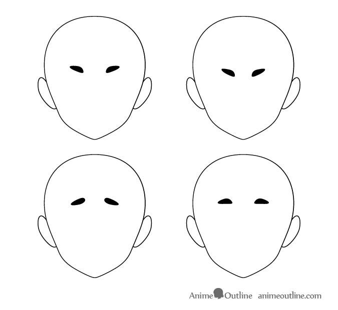 Thick and pointy short anime eyebrows different positions
