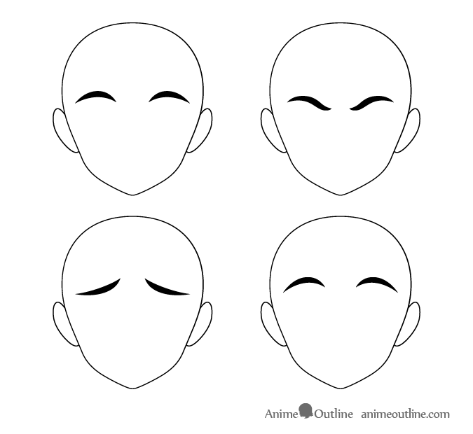 Tick anime eyebrows different positions
