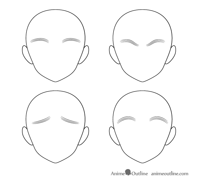 Tick multi-line anime eyebrows different positions
