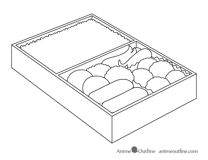 Anime food in lunch box drawing outline drawing